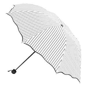 DORISHOME折りたたみ傘 レディース 折り畳み傘 軽量 日傘 おりたたみ 遮光 晴雨兼用 携帯しやすい かわいい花柄模様 (白いストライプ) inkgekiyasu