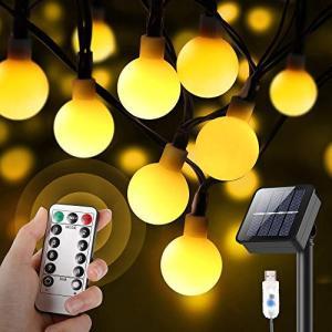 「2021最新 ソーラー&USB充電可能」イルミネーションライト フェアリーライト 60LED電球 10.8M 8種点灯モード リモコン付き IPX5 inkgekiyasu
