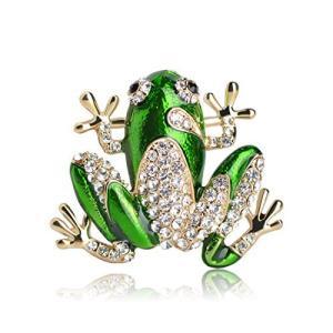 MECHOSEN 幸運を呼ぶ かわいい蛙のブローチピン ネクタイピン タックピン クリップ レディース メンズ 子供用 卒業式 入学式 水晶 緑 クリ inkgekiyasu