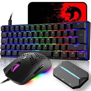 メカニカル、UK配列、61キーキーボード、有線、LEDバックライト、RGB、USB接続、エルゴノミック、完全なアンチゴーストボタン、キーキャップ取り外 inkgekiyasu