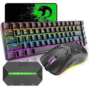 ゲーミングキーボード マウス コンバータ付き Bluetooth 2.4GHワイヤレス Type-c有線接続 メカニカルキーボード 2.4GHワイヤレ inkgekiyasu
