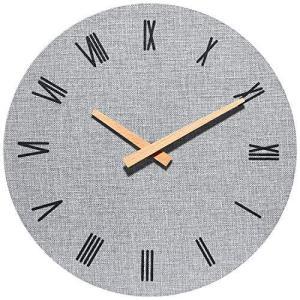 SUNVEN掛け時計 連続秒針静音 見やすい シンプルデザインリネンインテリア おしゃれ部屋装飾 グレー inkgekiyasu