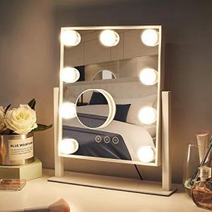 NUSVAN 女優ミラー ハリウッドミラー LED化粧鏡 ライトミラー ライト化粧鏡 おしゃれ卓上ミラー 三色照明モード 明るさ調整可能 9個LED電 inkgekiyasu