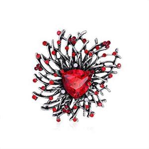 YWZCBXコサージュ ブローチ、 記念日、結婚、卒業式、バレンタインデー、クリスマスのギフトや、パーティー、成人式、入学式 (赤) inkgekiyasu