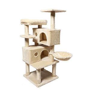 H&K MART キャットタワー 大型猫タワー 2つ猫ハウス 天然サイザル麻紐 段差あり ふわふわ見晴らし台 多頭飼い ハンモック付き ボンボン付き|inkgekiyasu