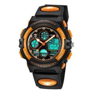 子供腕時計 ボーイズスポーツウォッチ アウトドア多機能防水 アラート 日付曜日表示 デュアルタイム LED アナログ表示 女の子男の子 デジタルウォッ inkgekiyasu