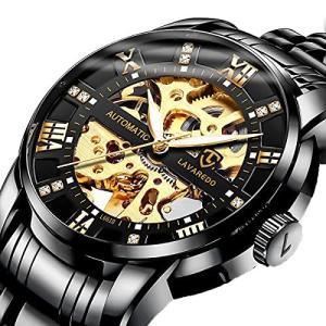 腕時計, メンズ腕時計 機械式 スケルトン ブラックス テンレススチール 高級 防水 自動 自動巻き ルミナス ダイヤモンド ローマ数字 ダイヤル 時 inkgekiyasu