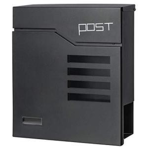 Jssmst(ジェスマット) メールボックス ポスト 郵便受け 大型 ファミリーポスト キーロック式 新聞受け 938-mail (938-黒) inkgekiyasu