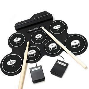 電子ドラム ポータブルドラム 7個ドラムパッド 8デモ曲 5ドラム音色 練習用パッド inkgekiyasu