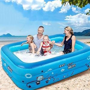 Windyjp 子供用プール 折りたたみ ビニールプール 3つ気室 滑り止め 大型 水遊び 親子遊び 猛暑対策 スイミング 家庭用プール ベビープール|inkgekiyasu
