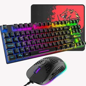 ゲーミングキーボード マウス 88キー 軽量 LEDバックライト USB接続 エルゴノミック 防水 完全なアンチゴーストボタン キーキャップ取り外し可 inkgekiyasu