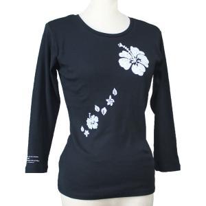 七分袖 Tシャツ Big ハイビスカス柄 フラダンス衣装