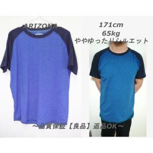 【メンズ】ARIZONAラグランTシャツ/USA古着ブルーネイビー良品シンプルL|innocence