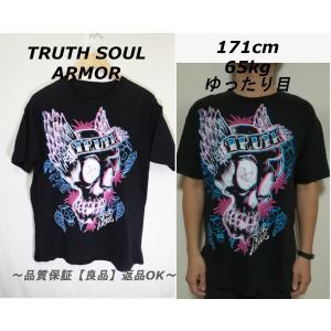 TRUTH SOUL ARMORブラックTシャツ/USAブランド古着goodプリント♪L|innocence