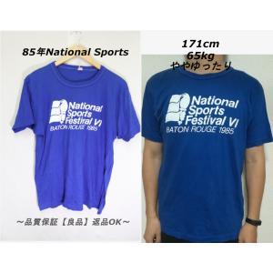 85年National Sports Tシャツ/USAビンテージブルー希少レアXL|innocence