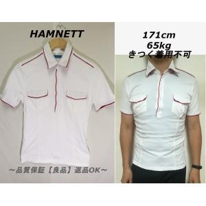 HAMNETTハーフボタンポロシャツレッドホワイト/ハムネットブランドM|innocence