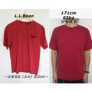 L.L.Beanポケット付きTシャツ/USAアウトドア美品レッドM|innocence