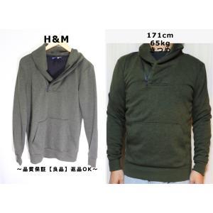 H&Mショールカラースウェットシャツ/グリーンカッコいい♪XS|innocence