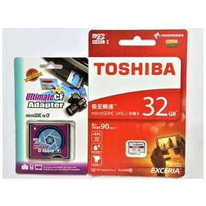 東芝製 microSD 32GB class10 + CFカード変換アダプター【2点セット】【メール便送料無料】