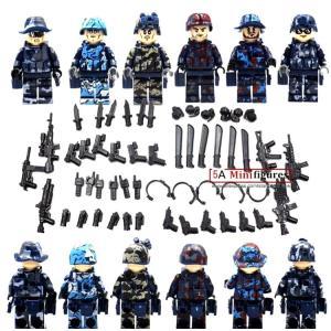 (即日配達) レゴ互換◆特殊部隊 ミリタリー 迷彩 大量武器パーツ ミニフィグ (ミニフィギュア) 6体セット☆LEGO(レゴ)対応 並行輸入