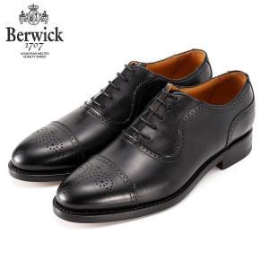 バーウィック BERWICK ストレートチップ セミグローブ 内羽根 紳士靴 革靴 ビジネスシューズ メンズ ブラック 2509 レザーソール グットイャー製法 スペイン製|inspire-gallery