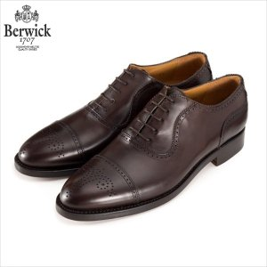 バーウィック BERWICK ストレートチップ セミグローブ 内羽根 紳士靴 革靴 ビジネスシューズ ダークブラウン 2509 レザーソール グットイャー製法 スペイン製|inspire-gallery