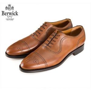 バーウィック BERWICK ストレートチップ セミグローブ 内羽根 紳士靴 革靴 ビジネス ライトブラウン 2509 レザーソール SADDLEカーフ グットイャー スペイン製|inspire-gallery
