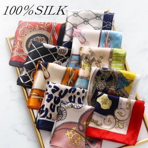 シルク100%  高級サテンスカーフ 52×52cm 正方形 小さめ バンダナサイズ  桜