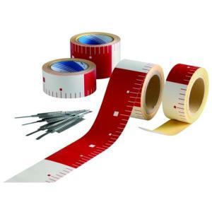 【送料無料】テープロッド 75mm幅×25m巻 赤/白 30cmピッチ 10巻入り|inter-shop