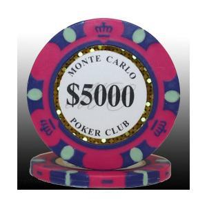 送料無料MONTECARLO モンテカルロ・ポーカーチップ〔5000〕桃 25枚セット