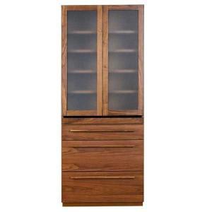 食器棚 キッチン 収納 80cm幅 国産 完成品  チェーナ80カップボード ウォールナット レグナテック|inter3i