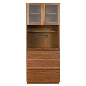 食器棚 キッチン 家電 収納 80cm幅 国産 完成品  チェーナ80キッチンボード ウォールナット レグナテック|inter3i