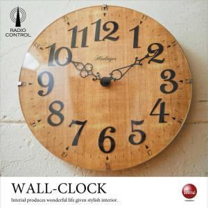 ウッド&曲げガラス・クラッシックデザイン壁掛け電波時計 interial