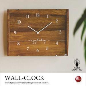 シンプルスクエアフレーム・壁掛け電波時計 interial