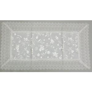刺繍(中生地)&ギュピールレース テーブルセンター 約35cmx50cm ホワイト interiarna