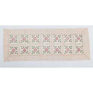刺繍&ギュピールレース テーブルセンター 約45cmx120cm ベージュ 8076 interiarna