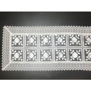 刺繍&ギュピールレース テーブルセンター 約45cmx120cm ホワイト 8076 interiarna