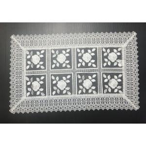 刺繍&ギュピールレース テーブルセンター 約45cmx75cm ホワイト 8076 interiarna