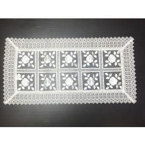 刺繍&ギュピールレース テーブルセンター 約45cmx90cm ホワイト 8076 interiarna