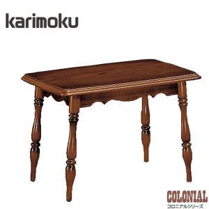 カリモク サイドテーブル 木製 リビングテーブル アンティーク調|interior-bagus