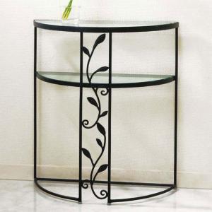 コンソールテーブル おしゃれ コンソール 北欧 ガラステーブル ブラック|interior-bagus