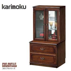 カリモク 飾り棚 アンティーク調 リビングボード 収納 サイドボード 幅60cm キャビネット ガラス扉|interior-bagus