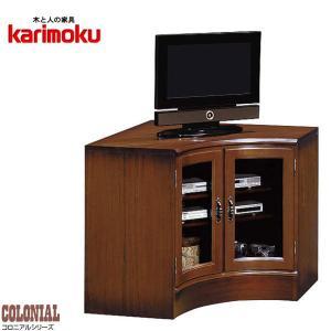 カリモク コーナーテレビ台 ハイタイプ コーナーテレビボード 北欧 コーナーTV台 アンティーク調 コーナーTVボード|interior-bagus