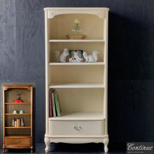 本棚 アンティーク調 書棚 木製 ブックシェルフ 北欧家具 本箱 無垢材 飾り棚 完成品 白 ホワイト 黒 ブラック|interior-bagus