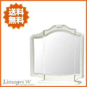 手彫りの彫刻がポイントのエレガントな置三面鏡!【サイズ】■W714×D160×H650mm【材質】■...
