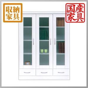 本棚 書棚 食器棚 カップボード CD DVD収納 フリーボード ホワイト 白 幅90 90幅 高さ120cm 鏡面 ツヤあり 開き戸 interior-daiki