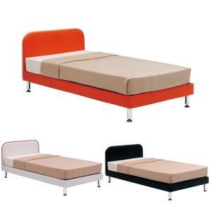 ベッド シングル シングルベッド シンプル 幅100cm 合皮レザー 合成皮革 おしゃれ オレンジ ブラック ホワイト 選べる3色 スタイリッシュ フレームのみ 激安|interior-daiki