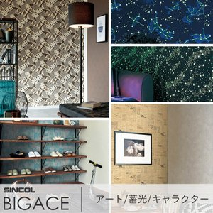 壁紙 クロス のりなし シンコール SINCOL BIGACE ビッグエース アート キャラクター 蓄光|interior-depot