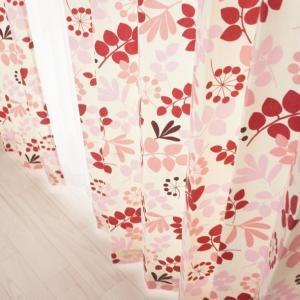 カーテン コットン綿プリントカーテン CH307アセロラ タックカーテン巾100cm×丈135cm 1枚|interior-depot