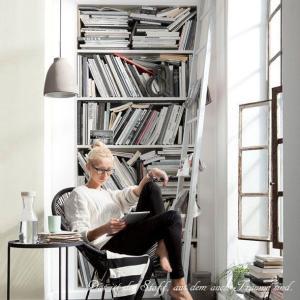 おしゃれな輸入壁紙 クロス 白い本棚 92cm×220cm ドイツ製壁紙 粉のり付属/2-1946 Book case|interior-depot